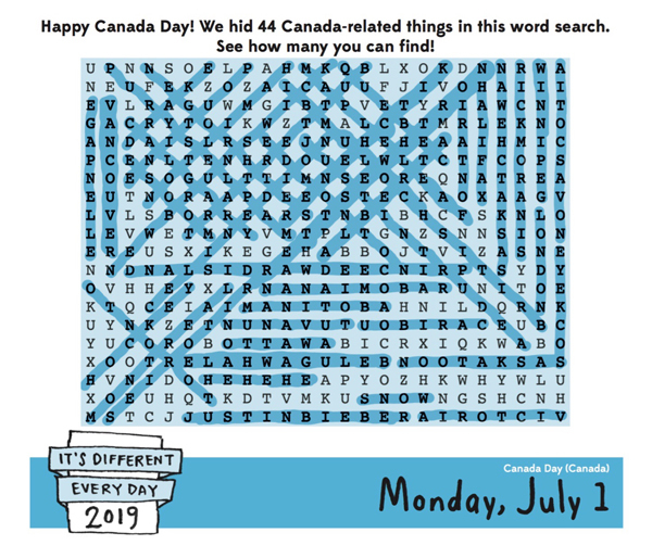 Monday, July 1, 2019 graphic
