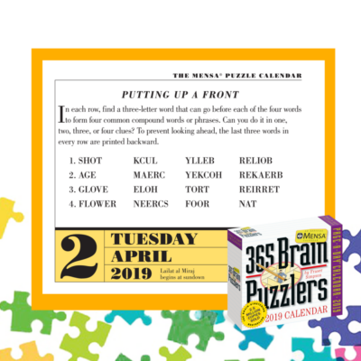 Can You Solve Today's Brain Puzzler? April 2, 2019 Page-A-Day