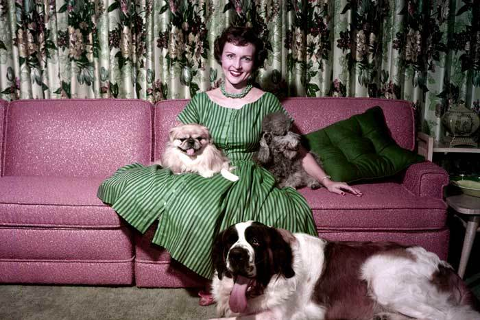 Betty White with her pets in 1954