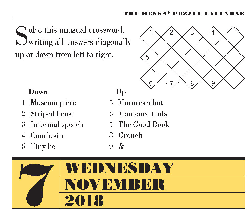 Can You Solve Today's Mensa Brain Puzzlers? November 7, 2018