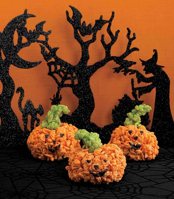 Halloween Rice Crispy Pumpkins from Ghoulish Goodies